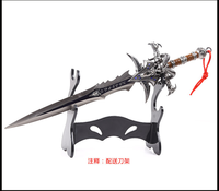 30CM High Quality Alloy Frostmourne Sword Inlaid Blue Diamond, WOW Lich King Arthas Weapon Model with Tool Carrier Min Sword