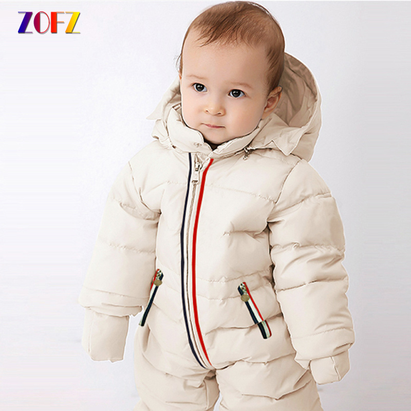 ZOFZ Baby Clothes Cotton Down jacket Jumpsuit for boys Fashion Full Sleeve baby Rompers with hooded 2018 thick babies clothing baby boys girls summer cotton clothes white navy sailor uniforms rompers short sleeve one pieces jumpsuit babies clothing gifts