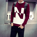 The new spring 2017 men's black/wine red round collar set of cultivate one's morality sweater super handsome letter sweater knit