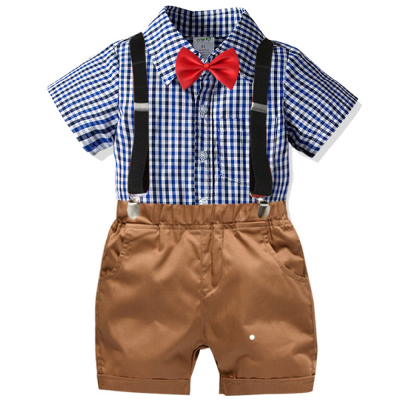 2019 New Children's Suits Summer Boys Gentleman Bow Tie+blue Plaid Shirt+Strap Woven Shorts Three-piece Casual Outwear Bebe Sets(China)