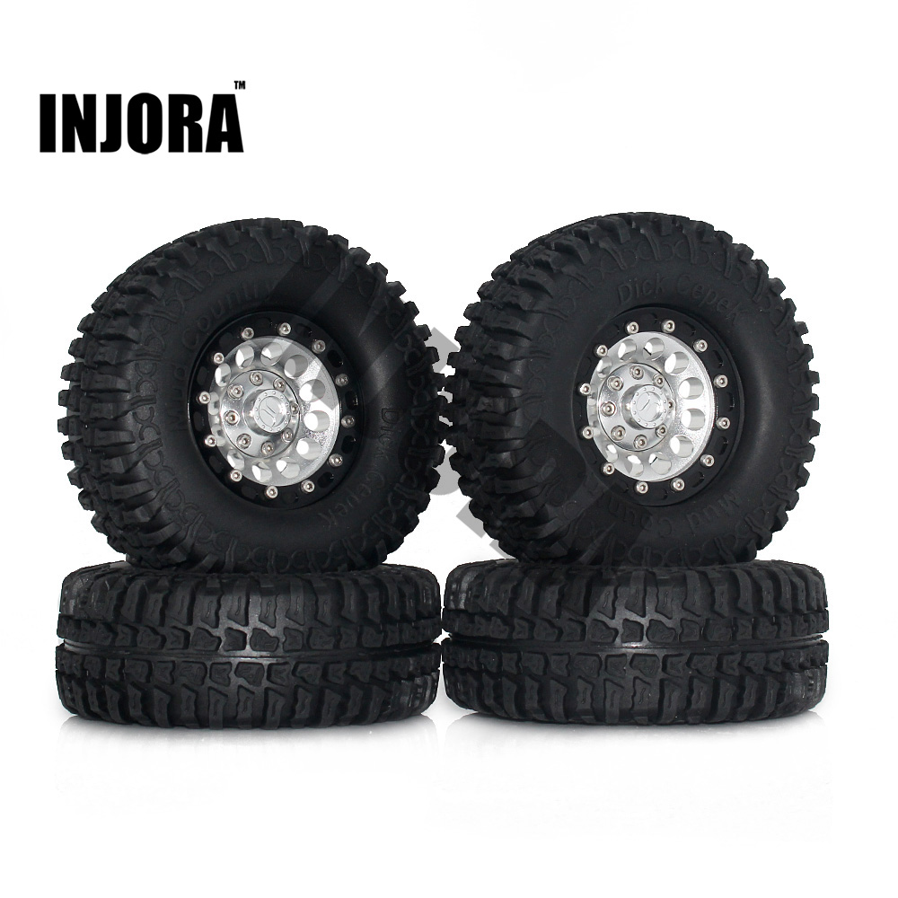 1:10 RC Crawler 1.9 Rubber Tires & Beadlock Wheel Rim for Axial SCX10 Tamiya CC01 RC4WD D90 D110 TF2 RC Car Tyre Parts 1 10 inflatable tires 4p set air pneumatictires with alloy beadlock wheels set f rc crawler rock crawler tires toy cars parts