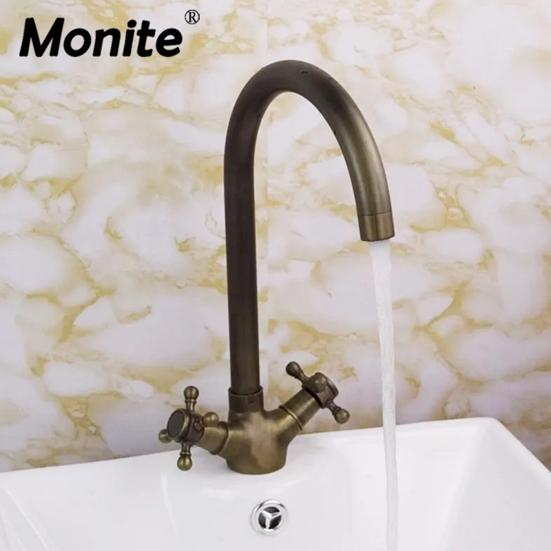 Monite 360 Swivel Antique Brass Double Handles Wash Basin Faucet Rotated Bathroom Tap Sink Mixer Faucet monite antique inspired solid brass bidet faucet polished brass finish bathroom basin faucet mixer tap