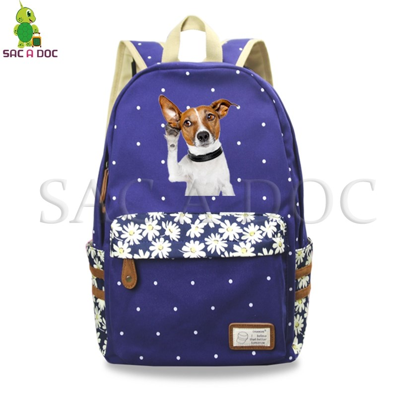 Animal Cute Dog Printing Backpack Floral Wave Point School Bags for Teenagers Girls Daily Backpack Leisure Travel RucksackAnimal Cute Dog Printing Backpack Floral Wave Point School Bags for Teenagers Girls Daily Backpack Leisure Travel Rucksack