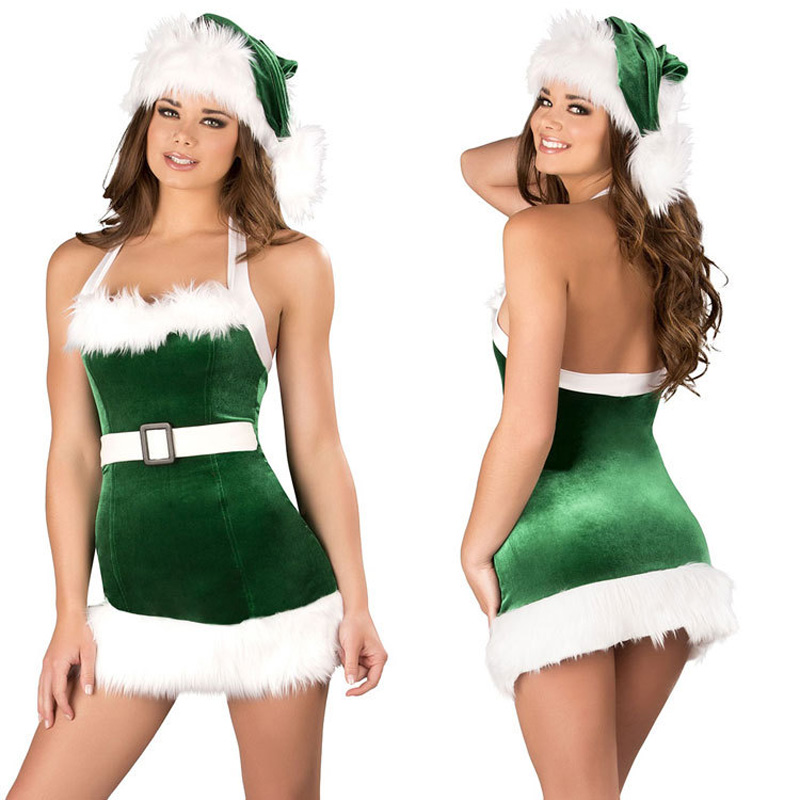 Buy Sexy Lingerie Christmas Costume Night Club Women Girl Acting Game Stage Christmas Cap Santa Suit Dress Underwear