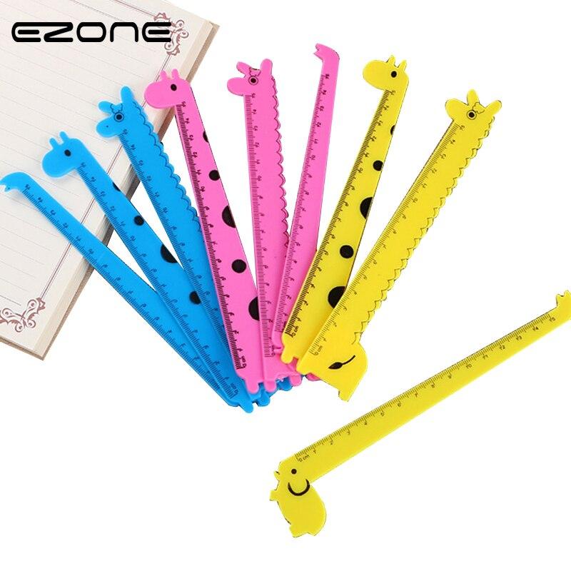 EZONE 3PCS/Set Cartoon Giraffe Ruler 15cm Korea Stationery Ruler Sewing School Ruler Creative Lovely Drawing Ruler Color Random