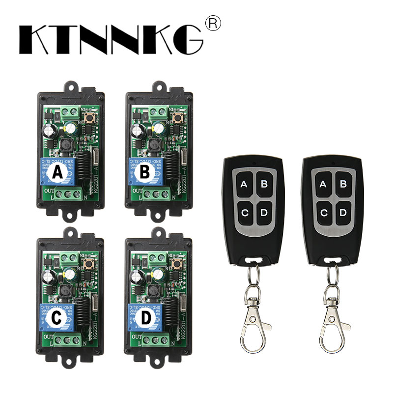 4PCS AC 220v 110V 1CH Relay Receiver Wireless Remote Control Switch with 50m Waterproof Transmitter ,433mhz ,L and N Out Put