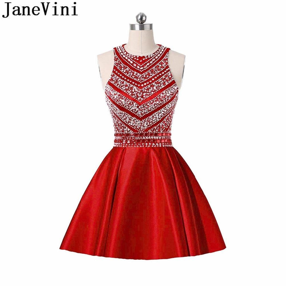 JaneVini Luxury Crystal Short Homecoming   Dresses   With Pockets Shiny Beading Party   Dress   Knee Length Wedding   Bridesmaid     Dresses