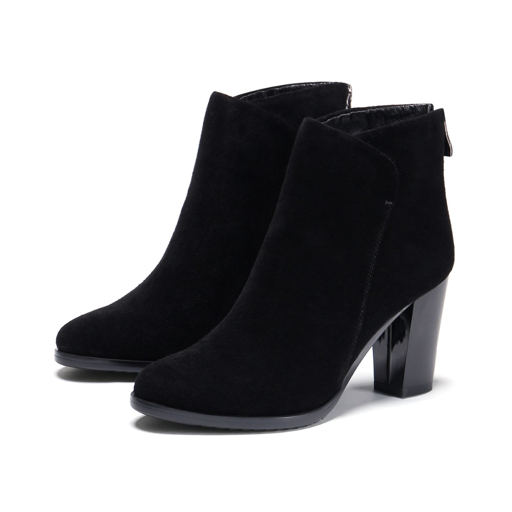 Cheville Noir Qualité Zipper Chaussures Carrés Femme black Talons En Véritable Femmes D'hiver Cuir Bottes Sb042 Nubuck De Pointu Bout Haute kX08nPwO