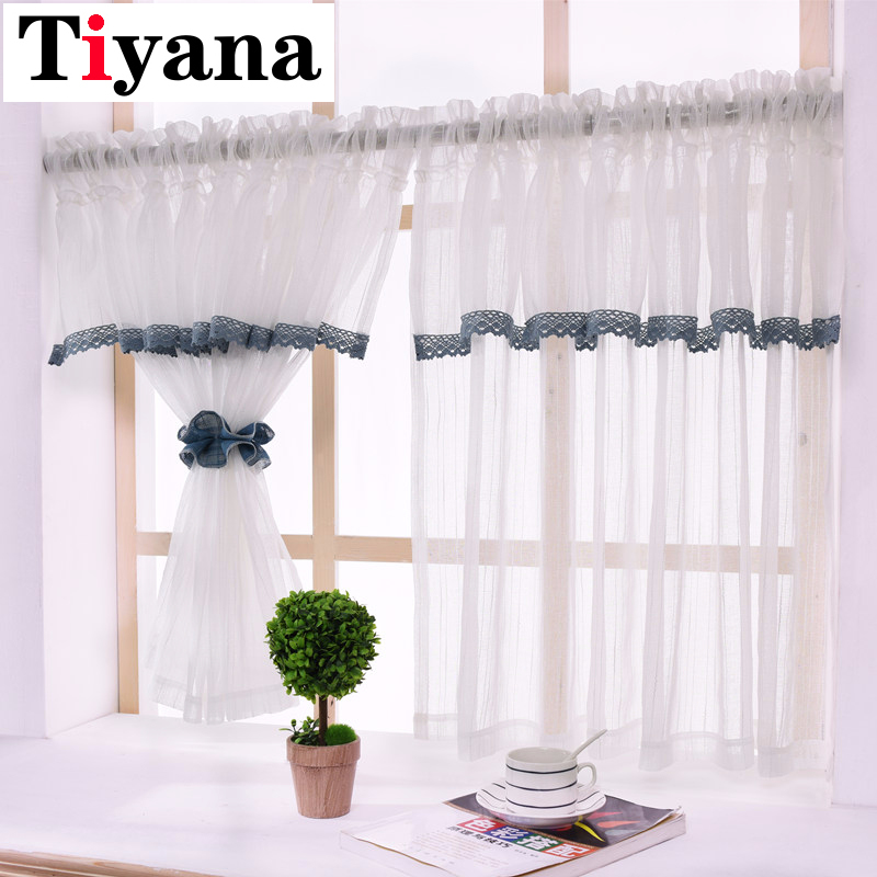 US $8.68 33% OFF|Decoration Garden Short Curtain Valance Kitchen Window  Small White Black Lace Stitching Curtain Tulle Window Treatment DL17D3-in  ...