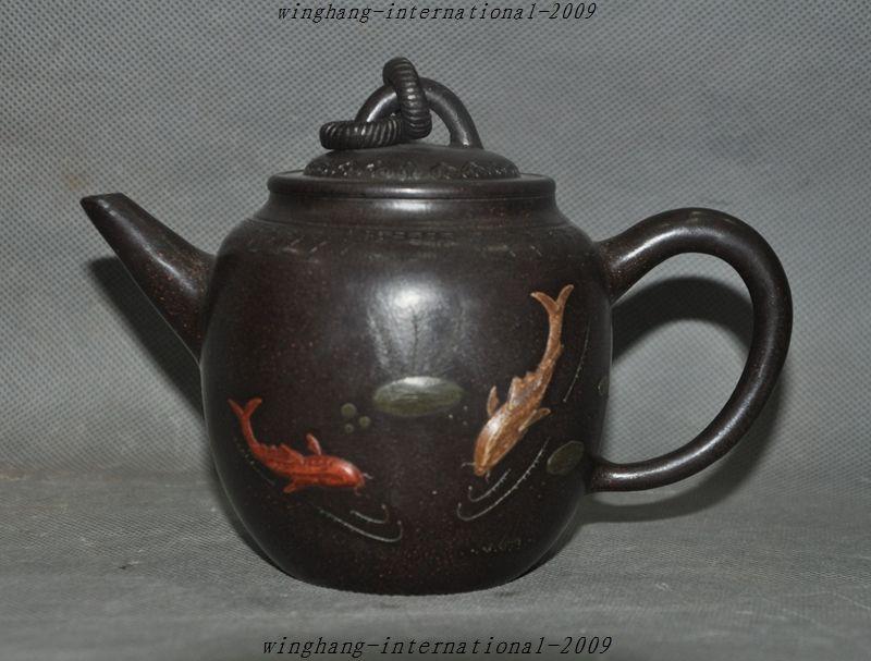Рождественский отмечены Старый Китай Исин Zisha Керамика Воды 2 рыбы играть Чай горшок Чай комплект Чай Maker Хэллоуин
