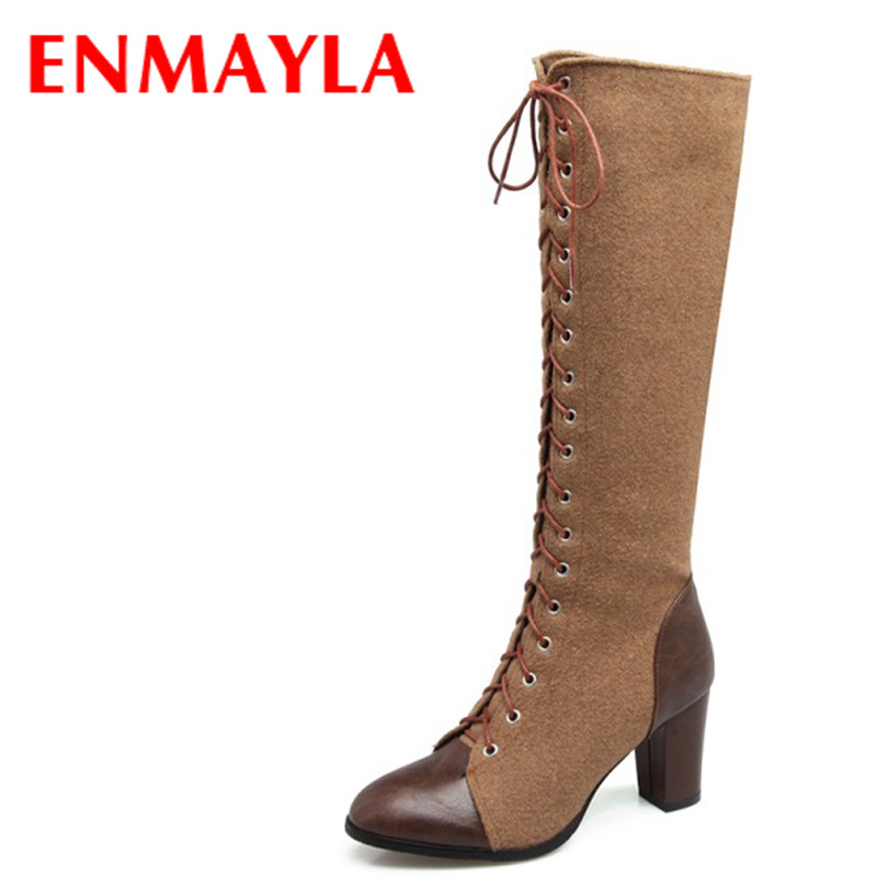 ENMAYLA Winter Autumn High Heels Lace-up Knee High Boots Women Shoes Sewing Green Brown Black Knigh Long Boots enmayla winter autumn high heels lace up knee high boots women shoes sewing green brown black knigh long boots