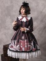 Новый для женщин осень одежда с длинным рукавом печати оборками милый бант Kawaii сладкий Лолита платье оптовая продажа, бесплатная доставка