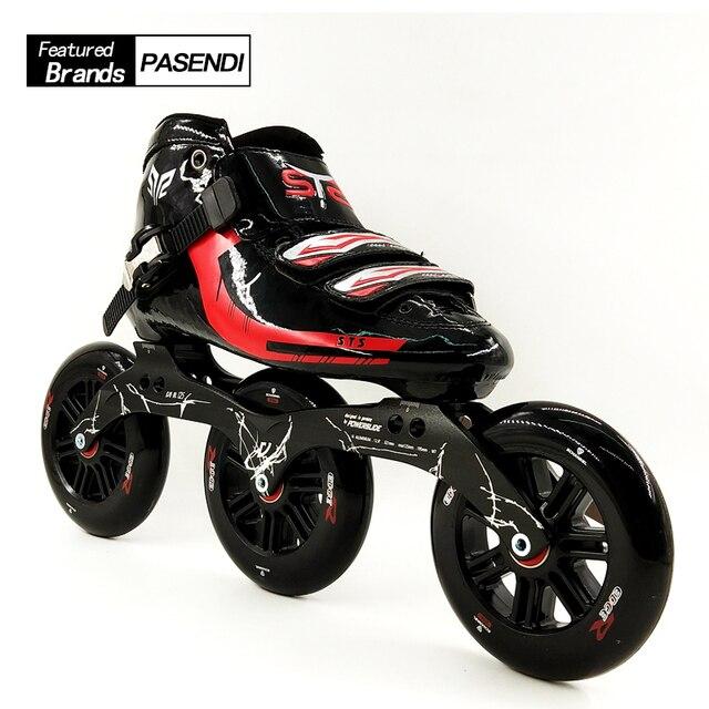 Kaca Serat Sepatu Speed Profesional Sepatu Skate Sepatu Roda 125 MM Roda  Inline Skating Sepatu Wanita 2c3253e040