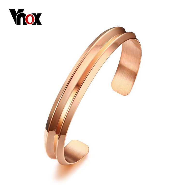 Vnox Trendy Femme Bracelets & Bangles Rose Gold-color Open Cuff Bracelets for Women Party Jewelry