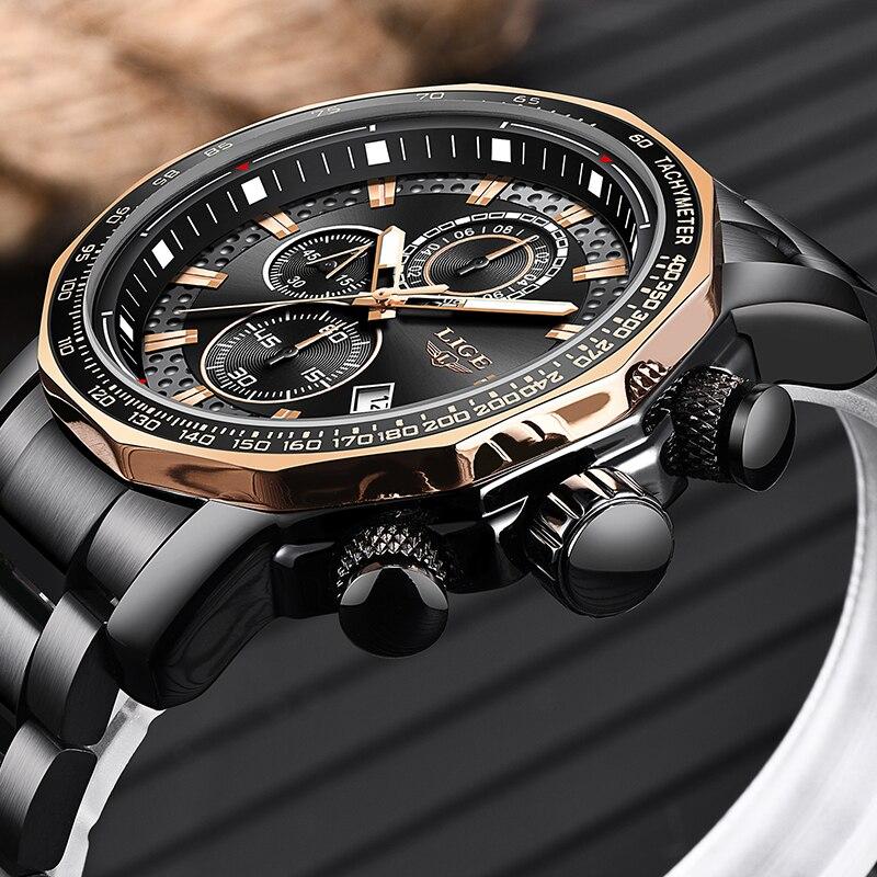 2019 LIGE hommes montres de luxe étanche chronographe militaire Sport montre pour hommes Date analogique hommes montres bracelet Relogio horloge