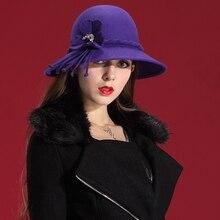 Women Winter Fedoras Women Hats Fashion Wool Felt Hat Natural 100% Wool Sun Hats & Caps Ladies Popular Winter Coat On Sale