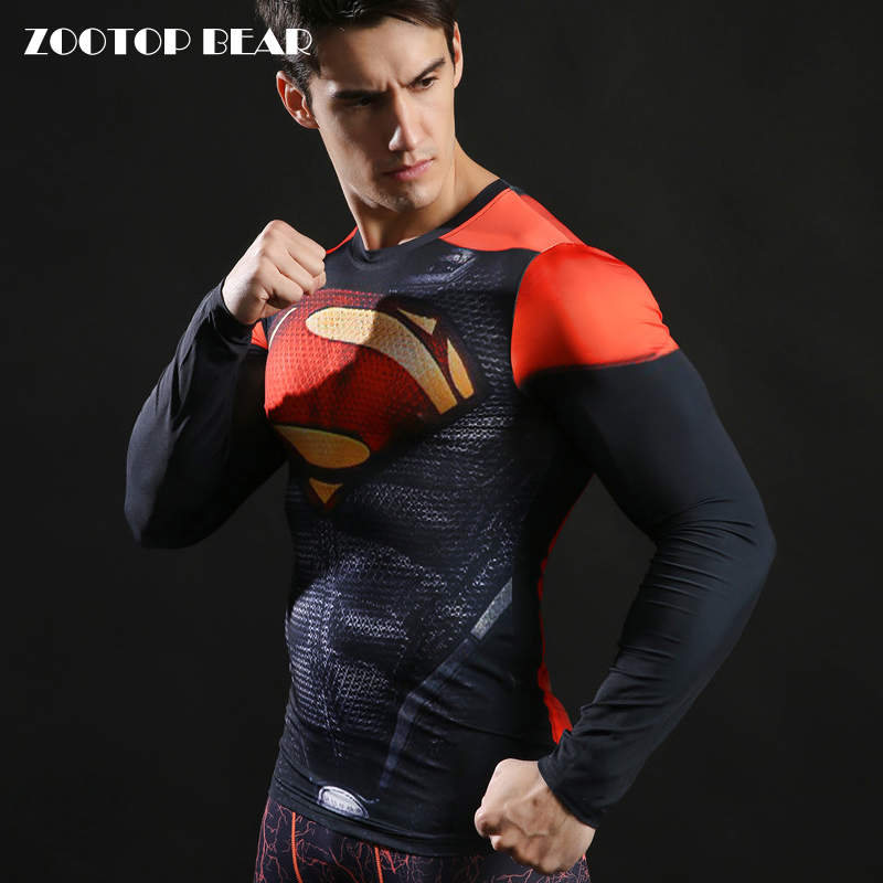 Superman Tshirts 2017 Compression Fitness Camisetas Funny T-shirts Superhero Spring Long sleeve Tops 3D Streetwear ZOOTOP BEAR