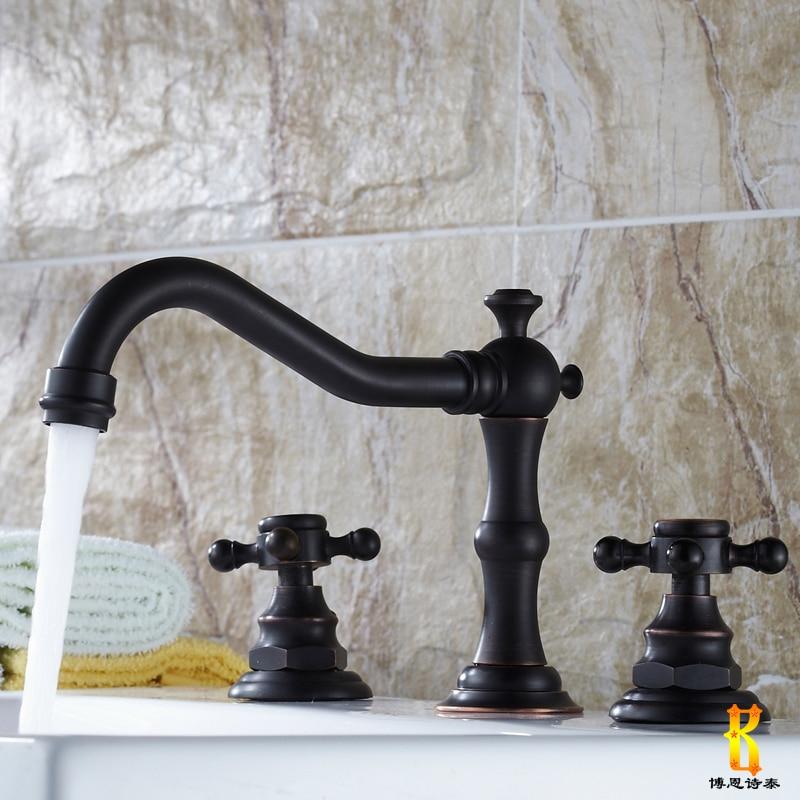 European Antique Kitchen Faucets Brass Black Deck Mount Bathroom Faucet Double Handles Three Hole Sink Taps Hot Cold 360 Degree antique brass swivel spout dual cross handles kitchen