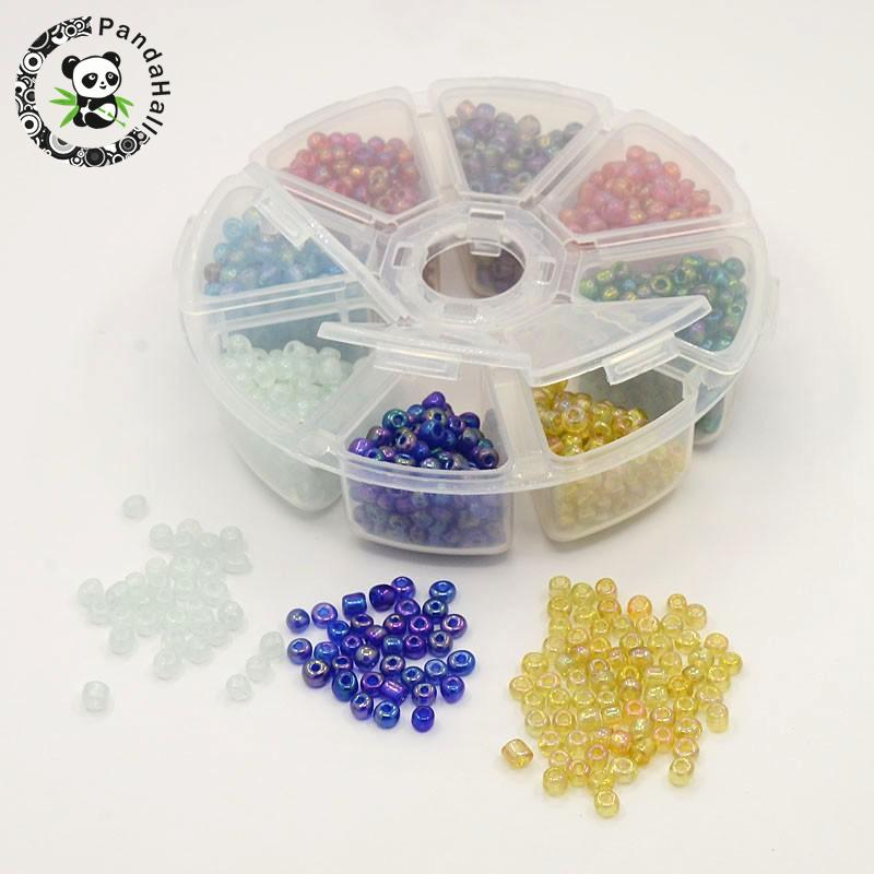 1 Box 6/0 Glass Seed Beads Transparent Colours Rainbow DIY Loose Spacer Mini Glass Seed Beads, Mixed Color, 4mm, Hole: 1mm