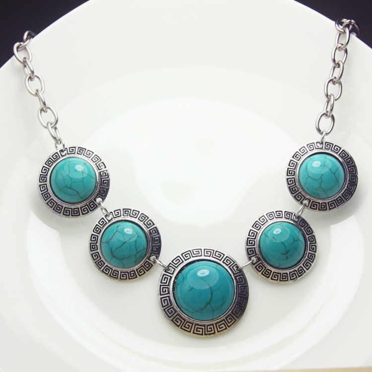Винтажное зеленое ожерелье красные зелёные малахитовые каменные колье ожерелье для женщин посеребренные тибетские украшения экзотическая бижутерия nkem26