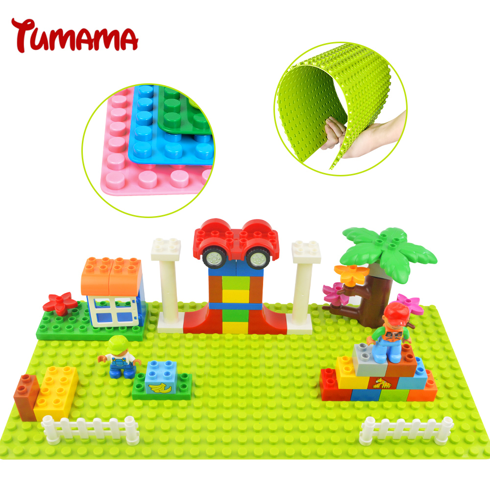 Tumama Base Plate 32*16 Dots Big Size Blocks Baseplate Compatible Legoed Duplo 51*25.5 cm DIY Building Blocks Base For Kids Gift 32 32 dots plastic bricks the island straight crossroad curve green meadow road plate building blocks parts bricks toys diy