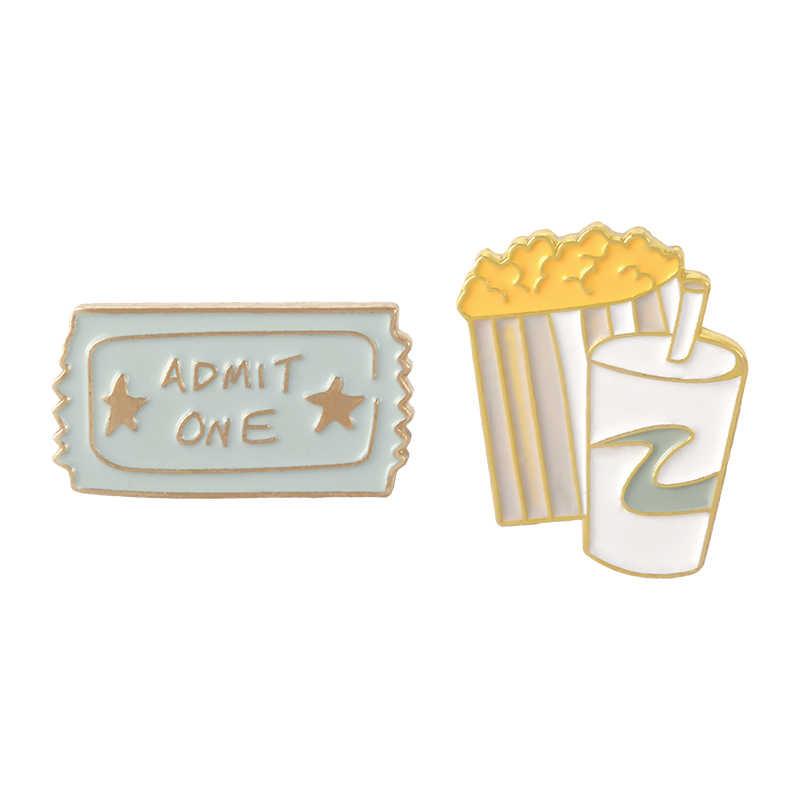 Perché non andare per un film? Ammettere Biglietti di Un Cinema Popcorn Coke Bere Del Fumetto Duro Smalto Spille Spille Per Gli Amici Il Regalo