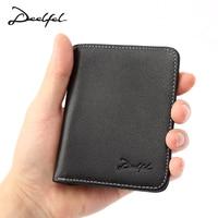 DEELFEL Mini Wallet Genuine Leather Wallet Fashion Short Men Wallet Leather Card Holder Male Thin Leather