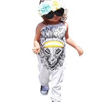 Baby Rompers Summer 2017 New Cartoon Lion Halter Girl Boy Romper Jumpsuit For Newborn Clothes Gray