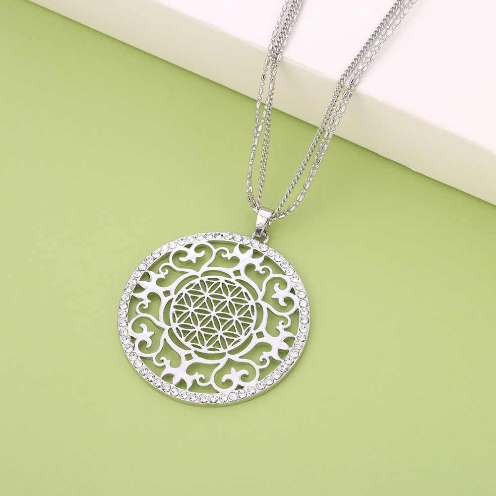 Sterling silver beaded necklace bohemian necklace boho necklace sacred geometry boho pendant