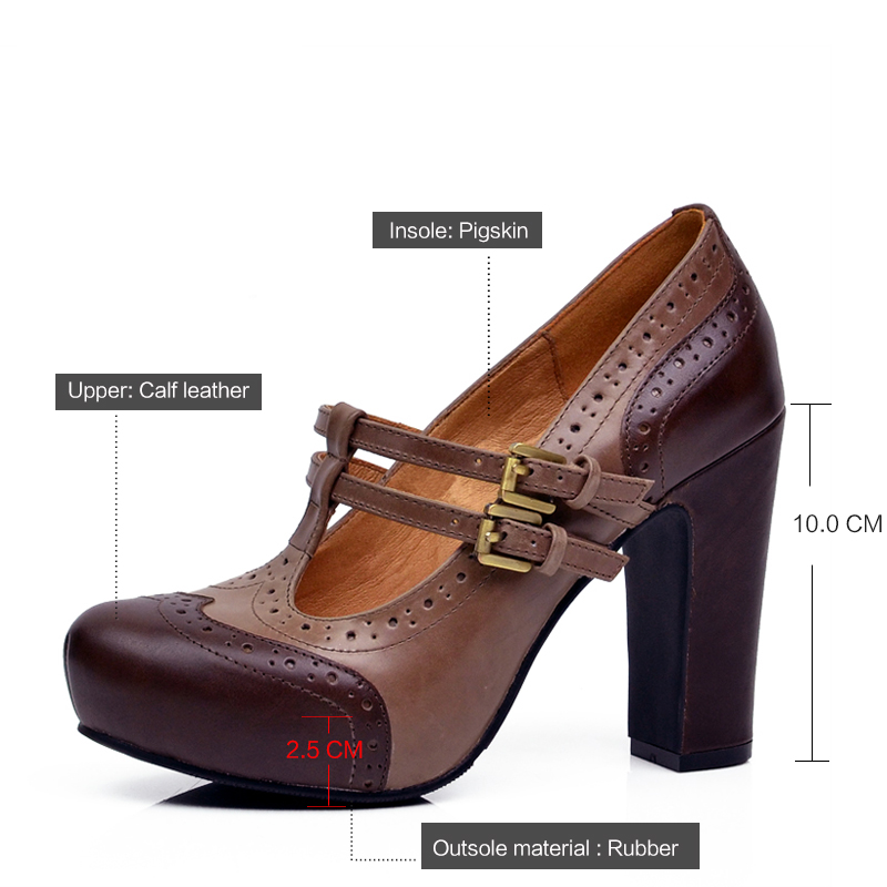 Donna in 2017 new spring pumps platform high heel women shoes cow leather  ladies shoes retro leather classic thick heel shoes-in Women s Pumps from  Shoes on ... ddbbf9a02596