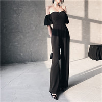 Black Backless Sweetheart Neck Tube Playsuit Sexy Women Summer Elegant Party Club Jumpsuits