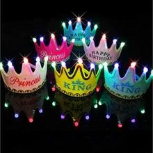 Дети День рождения Led корона шляпа игрушки Король принцесса вечерние торт фото игрушки