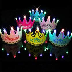 Дети День рождения Led корона шляпа игрушки Король принцесса вечерние торт фото игрушки 2019