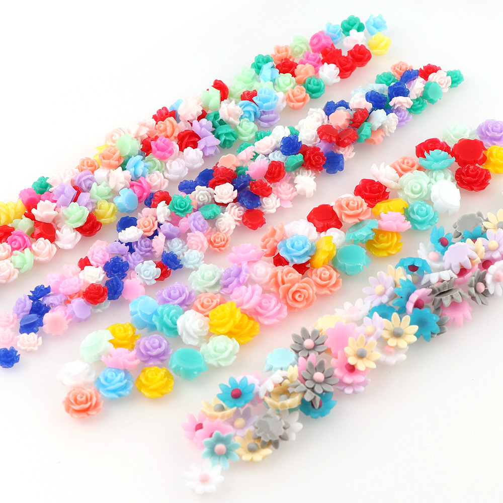 Mix Color Size 100pc Mini  Resin Flowers Decorations For Nails Glitter 3D Nail Art Rose Flowers Jewelry Acrylic Nail Accessories