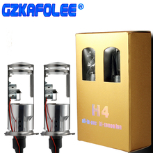 Gzkafolee 12v 55w h4 xenon lâmpada 4300k 6000k 8000k branco carro farol bulbo mini projetor lente dupla mortalhas