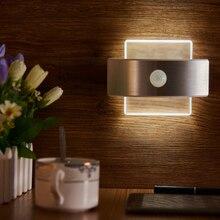 Recarregável led infravermelho pir sensor de movimento luz da noite sem fio led lâmpada de parede auto ligar/desligar para o caminho do miúdo escada parede geladeira