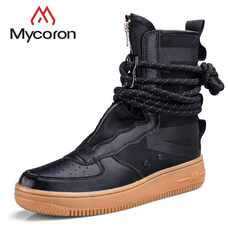 MYCORON Men Boots Fashion High Top Sneakers Men Handmade Men Shoes 2018 High Quality Spring/Autumn Lace Up Flats Schuhe Herren