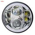 Light Sourcing 7 Inch Universal 80W High Low DRL Turning Silver Base Headlight For Wrangler Defender G55 Harley