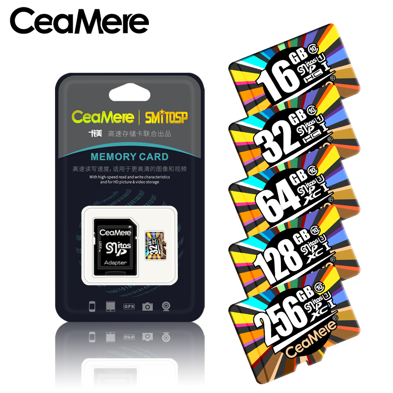Carte mémoire CeaMere 256GB 128GB 64GB U3 UHS-3 32GB carte Micro sd Class10 UHS-1 carte flash mémoire cartes Microsd TF/SD pour tablette