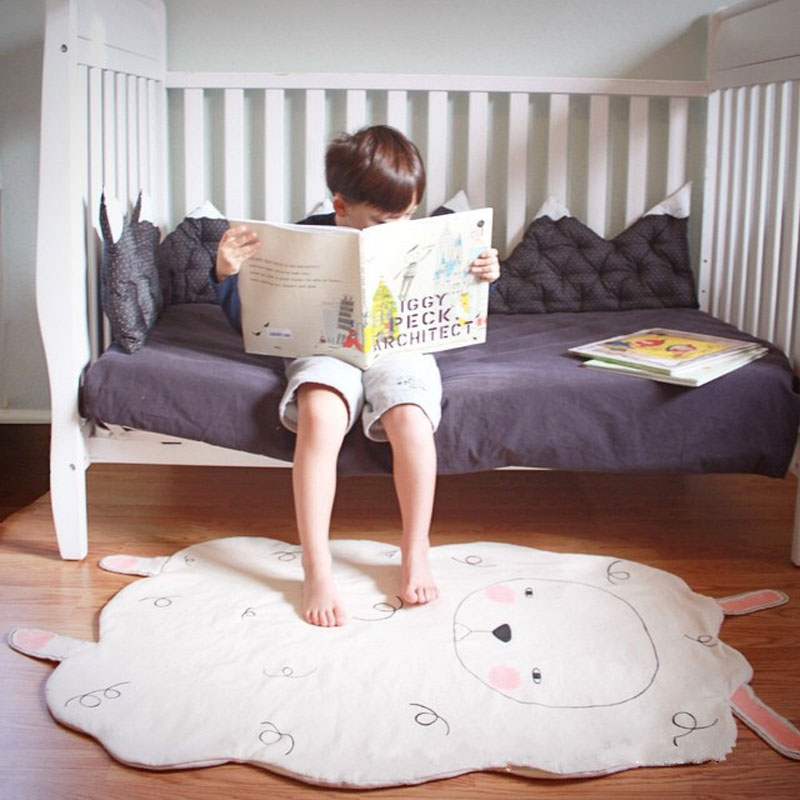 2016 New Fashion Baby Game Mats 100% Cotton Children Room Carpets Lovely Lamb Animal Rugs Bedroom Bathroom Living Room Footcloth image