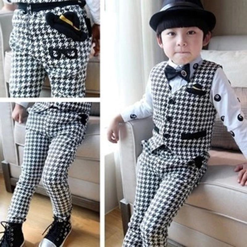 ActhInK עיצוב חדש ילדים מכנסיים וסט חליפות עבור בנים מותג אנגליה סגנון ילדים סתיו חתונה ווסטים חליפות בנים רשמי פורז