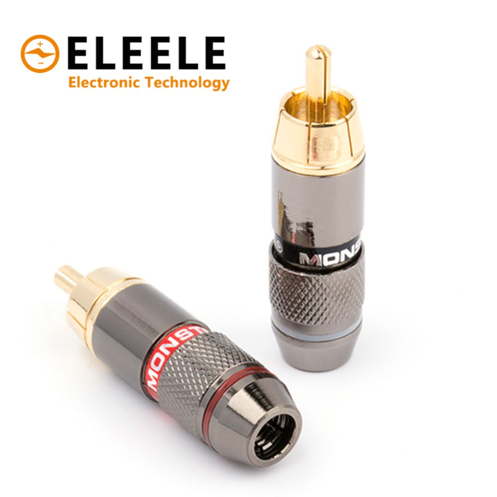 2Pcs1Pair RCA Wire Connector Male Plug Jack Gold Plated Speaker Audio Adapter 2 Color PN34