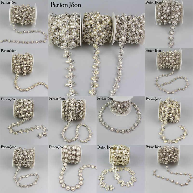 5yards Crystal pearl Trimming Motif Rhinestone trim Chain for Wedding Dress  Decoration Appliques sew on Clothing bf130960bc42