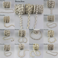 5yards Crystal pearl Trimming Motif Rhinestone trim Chain for Wedding Dress Decoration Appliques sew on Clothing shoes