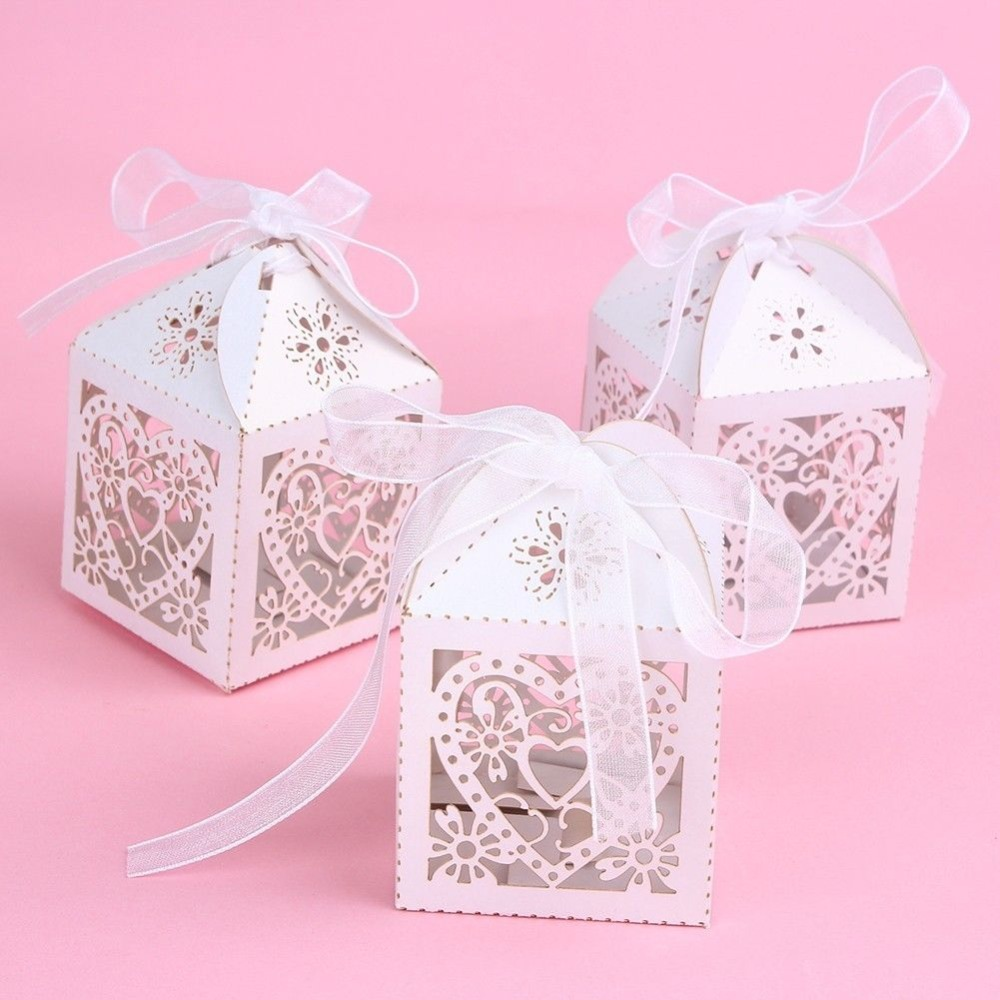200PCS Love Heart Laser Cut Candy Gift Boxes With Ribbon Wedding ...
