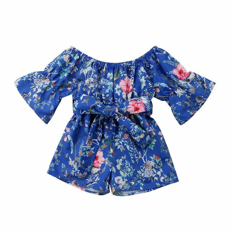 d5824afde Toddler /Kid / Baby Girl Clothes Floral Off-shoulder Romper Jumpsuit ...