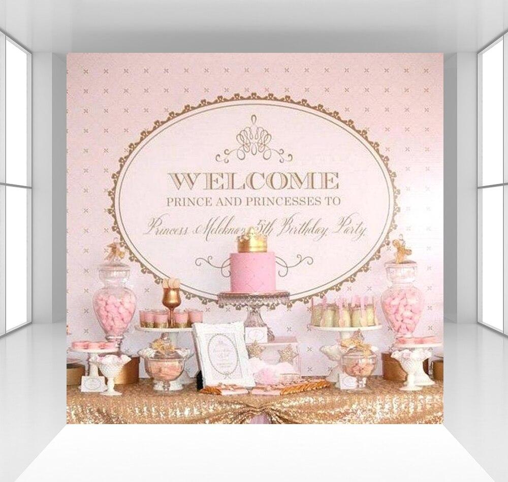 Rose princes princesse fond photographie décors bébé enfants fête d'anniversaire décoration Photo stweet nappe CZ-166