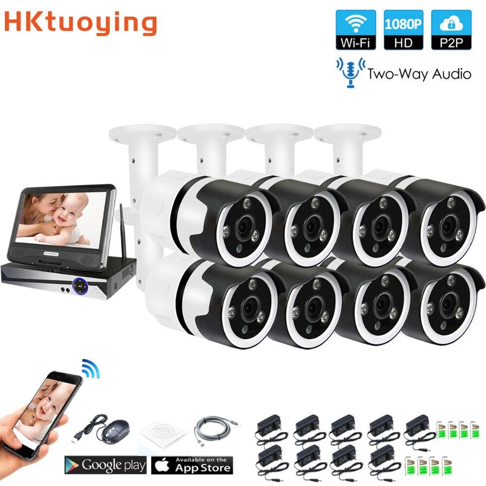 8CH de dos vías de audio hablar HD inalámbrico LCDNVR Kit de P2P 1080 P de interior al aire libre de la visión nocturna IR seguridad 2.0MP IP cámara WIFI Sistema de CCTV