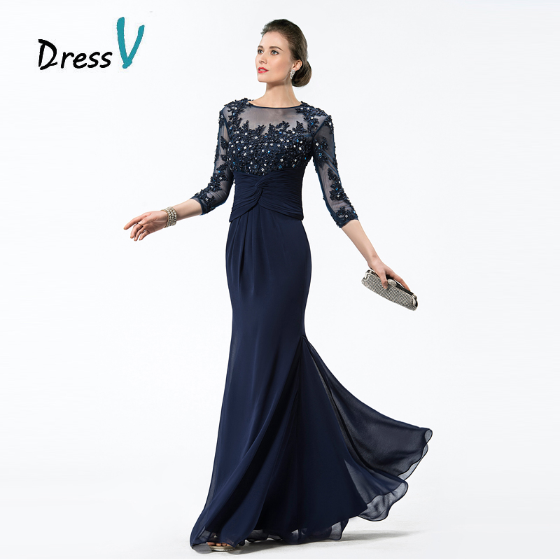 Dressv Long Navy Blue Mother Of The Bride Dresses 2017 Chiffon Beaded Liques Bodice Sheer 3 4 Sleeves Mothers Evening In