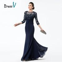 Dressv 긴 네이비 블루 어머니 신부 드레스 2017 쉬폰 파란색 아플리케 몸통 쉬어 3/4 소매 어머니 이브닝 드레